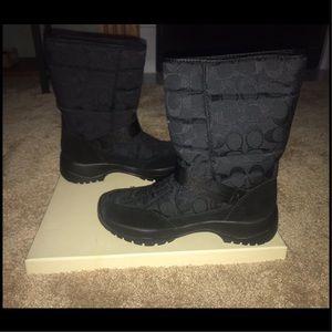 NIB Women's Coach Black Winter Boots Size 9